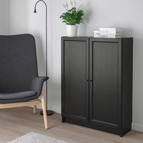 BILLY/OXBERG - bookcase with doors, black-brown   IKEA Hong Kong and Macau - PE714130_S4
