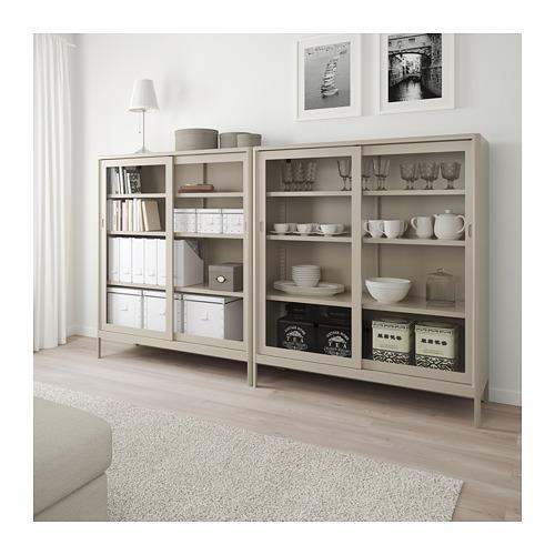 IDÅSEN - cabinet with sliding glass doors, beige | IKEA Hong Kong and Macau - PE714186_S4