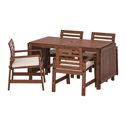 ÄPPLARÖ - 戶外檯連扶手椅組合, 染褐色/Frösön/Duvholmen 米黃色 | IKEA 香港及澳門 - PE714205_S4
