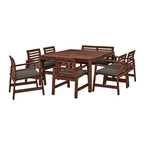 ÄPPLARÖ table+6 chairs armr+bench, outdoor