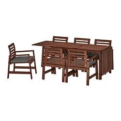 ÄPPLARÖ - table+6 chairs w armrests, outdoor, brown stained/Frösön/Duvholmen dark grey   IKEA Hong Kong and Macau - PE714212_S3