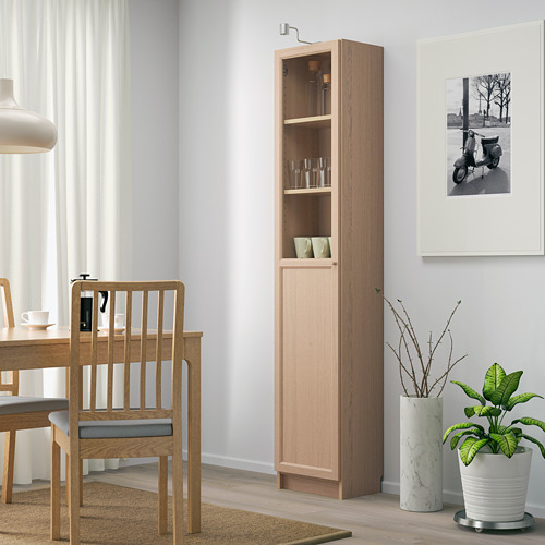 BILLY/OXBERG - bookcase with panel/glass door, white stained oak veneer/glass | IKEA Hong Kong and Macau - PE714275_S4