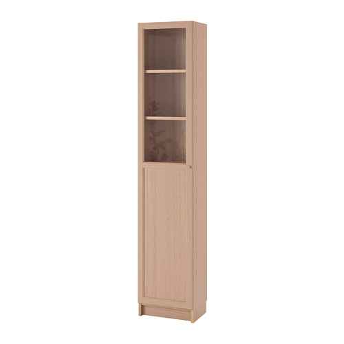 BILLY/OXBERG - bookcase with panel/glass door, white stained oak veneer/glass | IKEA Hong Kong and Macau - PE714282_S4