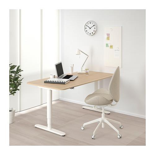 BEKANT - 升降式書檯, 160x80cm, 染白橡木飾面/白色 | IKEA 香港及澳門 - PE714391_S4