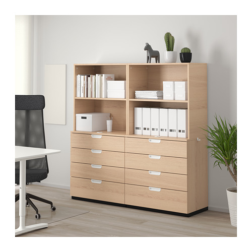 GALANT - storage combination with drawers, white stained oak veneer | IKEA Hong Kong and Macau - PE714409_S4