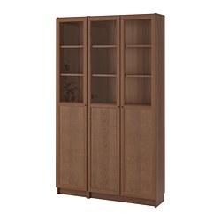 BILLY/OXBERG - bookcase with panel/glass doors, brown ash veneer/glass | IKEA Hong Kong and Macau - PE714524_S3