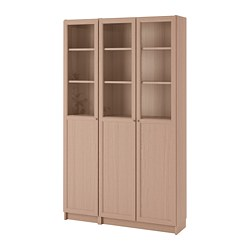 BILLY/OXBERG - bookcase with panel/glass doors, white stained oak veneer/glass | IKEA Hong Kong and Macau - PE714530_S3