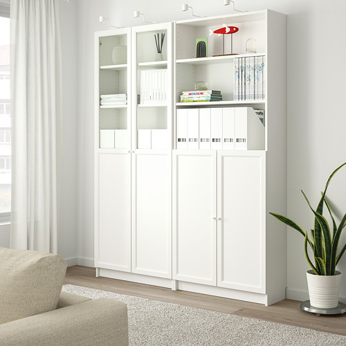 BILLY/OXBERG - bookcase with panel/glass doors, white | IKEA Hong Kong and Macau - PE714574_S4