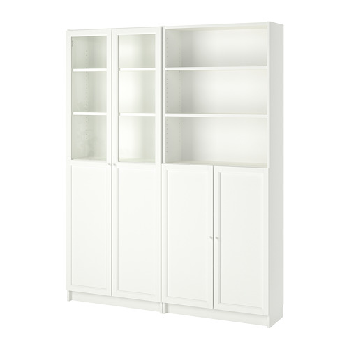 BILLY/OXBERG - bookcase with panel/glass doors, white | IKEA Hong Kong and Macau - PE714571_S4