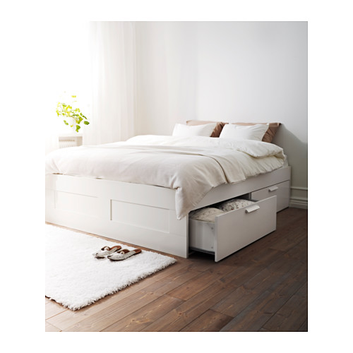 BRIMNES bed frame with storage, LÖNSET, double