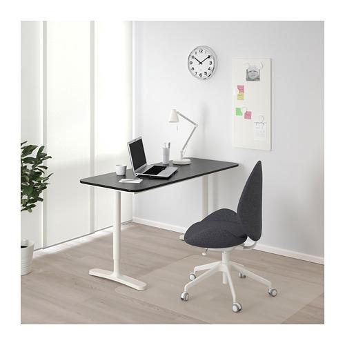 BEKANT - 書檯, 140x60cm, 染黑梣木飾面/白色   IKEA 香港及澳門 - PE714688_S4