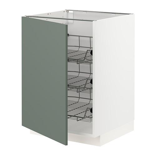 METOD - base cabinet with wire baskets, white/Bodarp grey-green | IKEA Hong Kong and Macau - PE754646_S4