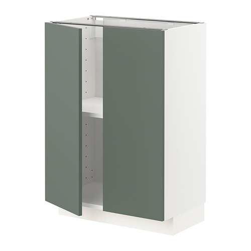 METOD - base cabinet with shelves/2 doors, white/Bodarp grey-green | IKEA Hong Kong and Macau - PE754653_S4