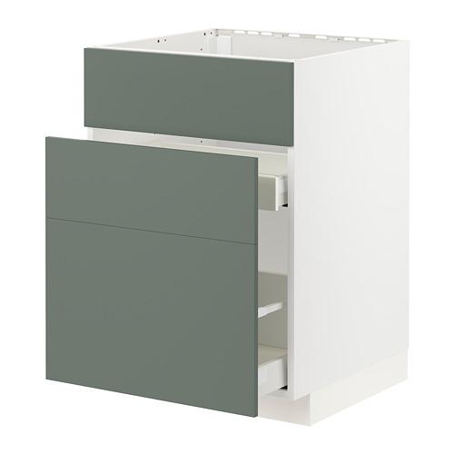 METOD/MAXIMERA - base cab f sink+3 fronts/2 drawers, white/Bodarp grey-green | IKEA Hong Kong and Macau - PE754674_S4
