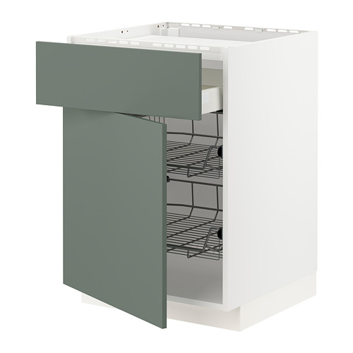 METOD/MAXIMERA - base cab f hob/drawer/2 wire bskts, white/Bodarp grey-green | IKEA Hong Kong and Macau - PE754687_S4