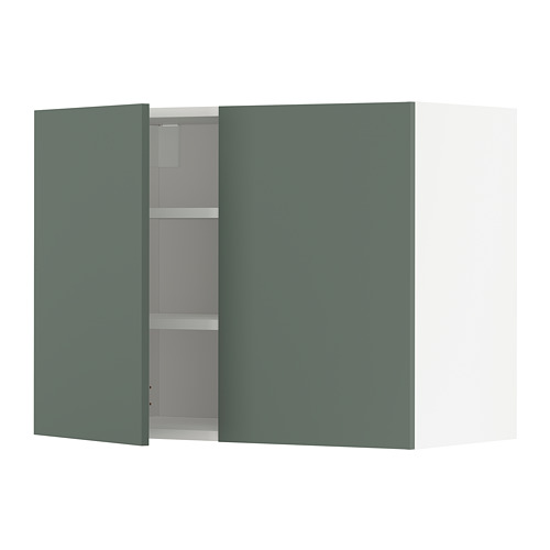 METOD - wall cabinet with shelves/2 doors, white/Bodarp grey-green | IKEA Hong Kong and Macau - PE754705_S4