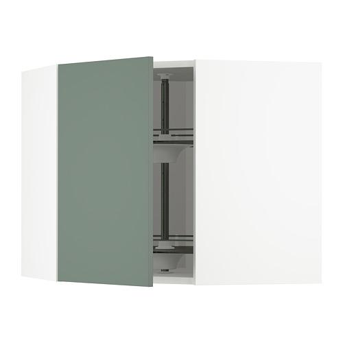 METOD - corner wall cabinet with carousel, white/Bodarp grey-green | IKEA Hong Kong and Macau - PE754725_S4