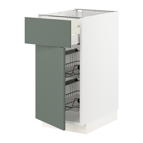 METOD/MAXIMERA - base cab w wire basket/drawer/door, white/Bodarp grey-green | IKEA Hong Kong and Macau - PE754737_S4