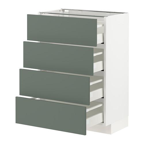 METOD/MAXIMERA - 地櫃連4面板/4抽屜, 白色/Bodarp 灰綠色   IKEA 香港及澳門 - PE754741_S4