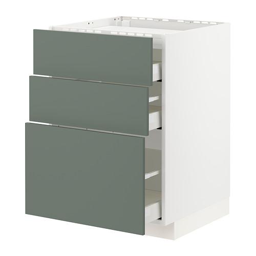 METOD/MAXIMERA - base cab f hob/3 fronts/3 drawers, white/Bodarp grey-green | IKEA Hong Kong and Macau - PE754746_S4