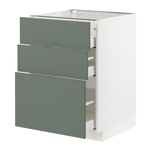 METOD/MAXIMERA - base cabinet with 3 drawers, white/Bodarp grey-green   IKEA Hong Kong and Macau - PE754757_S4