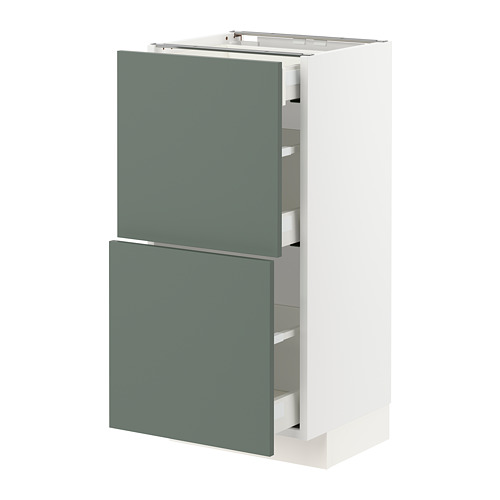 METOD/MAXIMERA - base cab with 2 fronts/3 drawers, white/Bodarp grey-green | IKEA Hong Kong and Macau - PE754766_S4