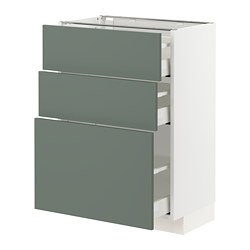 METOD/MAXIMERA - base cabinet with 3 drawers, white/Bodarp grey-green | IKEA Hong Kong and Macau - PE754770_S3