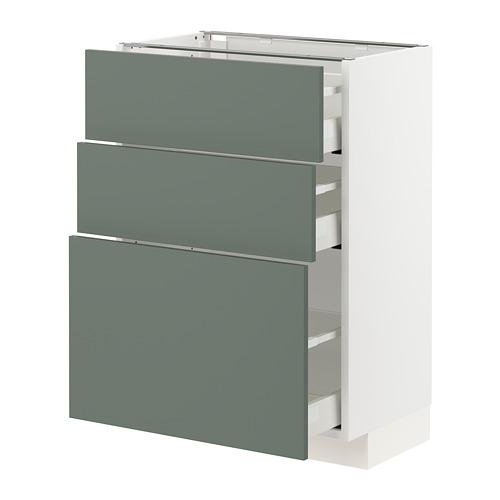 METOD/MAXIMERA - base cabinet with 3 drawers, white/Bodarp grey-green | IKEA Hong Kong and Macau - PE754770_S4