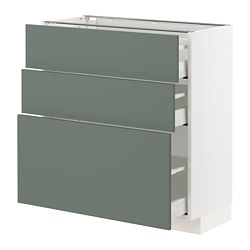 METOD/MAXIMERA - base cabinet with 3 drawers, white/Bodarp grey-green | IKEA Hong Kong and Macau - PE754771_S3