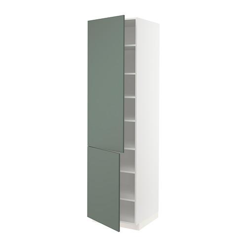 METOD - high cabinet with shelves/2 doors, white/Bodarp grey-green   IKEA 香港及澳門 - PE754776_S4