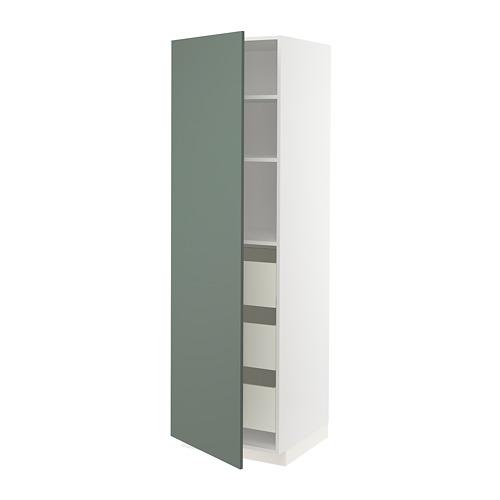 METOD/MAXIMERA - high cabinet with drawers, white/Bodarp grey-green | IKEA Hong Kong and Macau - PE754780_S4