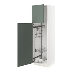 METOD - high cabinet with cleaning interior, white/Bodarp grey-green | IKEA 香港及澳門 - PE754804_S3