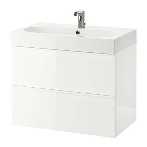 BRÅVIKEN/GODMORGON - 雙抽屜洗手盆櫃, 光面 白色/BROGRUND水龍頭 | IKEA 香港及澳門 - PE810670_S4
