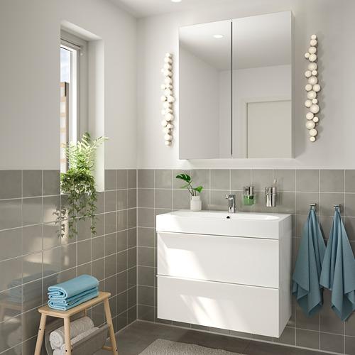 BRÅVIKEN/GODMORGON - 雙抽屜洗手盆櫃, 光面 白色/BROGRUND水龍頭 | IKEA 香港及澳門 - PE810673_S4