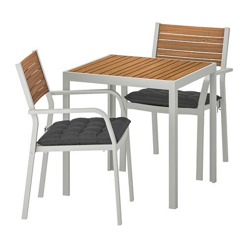 SJÄLLAND - table+2 chairs w armrests, outdoor, light brown/Hållö black | IKEA Hong Kong and Macau - PE714996_S4