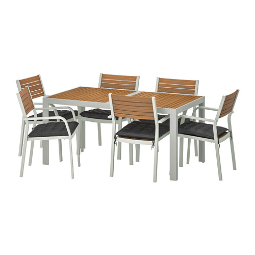 SJÄLLAND table+6 chairs w armrests, outdoor