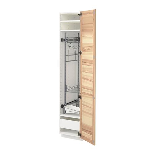 METOD/MAXIMERA - high cabinet with cleaning interior, white/Torhamn ash   IKEA 香港及澳門 - PE715205_S4