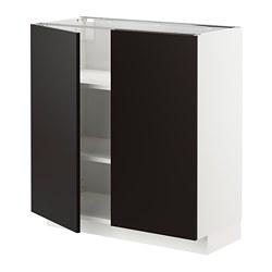 METOD - 地櫃連層板/一對門, 白色/Uddevalla 炭黑色   IKEA 香港及澳門 - PE715168_S3
