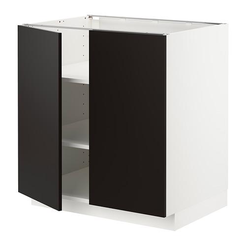 METOD - base cabinet with shelves/2 doors, white/Uddevalla anthracite | IKEA Hong Kong and Macau - PE715210_S4