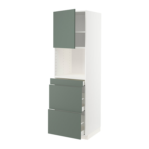 METOD/MAXIMERA - hi cab f micro combi w door/3 drwrs, white/Bodarp grey-green   IKEA Hong Kong and Macau - PE754976_S4