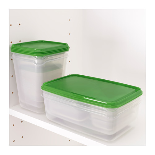 PRUTA - 食物盒,17件套裝, 透明/綠色 | IKEA 香港及澳門 - PE612348_S4