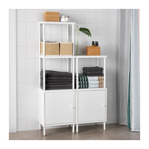 DYNAN - 層架組合連2個貯物櫃, 白色   IKEA 香港及澳門 - PE612736_S4