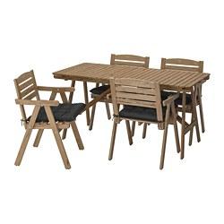 FALHOLMEN - 戶外檯連扶手椅組合, 染淺褐色/Hållö 黑色 | IKEA 香港及澳門 - PE715258_S3