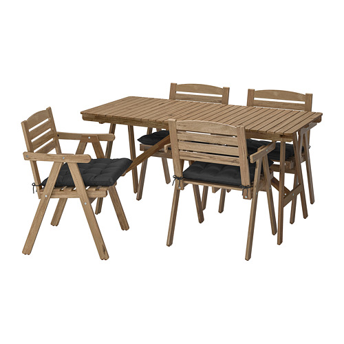 FALHOLMEN - table+4 chairs w armrests, outdoor, light brown stained/Hållö black | IKEA Hong Kong and Macau - PE715258_S4