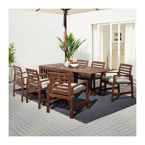 ÄPPLARÖ - table+6 chairs w armrests, outdoor, brown stained | IKEA Hong Kong and Macau - PE666167_S4