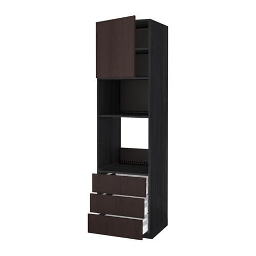 METOD - 微波爐/焗爐用高櫃連抽屜櫃門組合, 黑色 Maximera/Ekestad 褐色 | IKEA 香港及澳門 - PE550801_S4