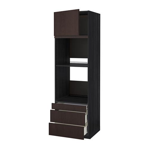 METOD - 焗爐用高櫃連抽屜櫃門組合, 黑色 Förvara/Ekestad 褐色 | IKEA 香港及澳門 - PE550883_S4