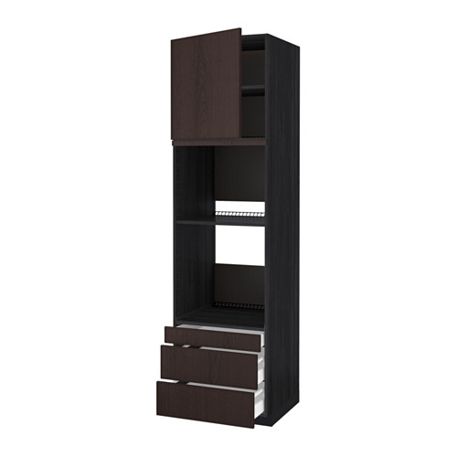METOD - 焗爐用高櫃連抽屜櫃門組合, 黑色 Maximera/Ekestad 褐色   IKEA 香港及澳門 - PE550884_S4