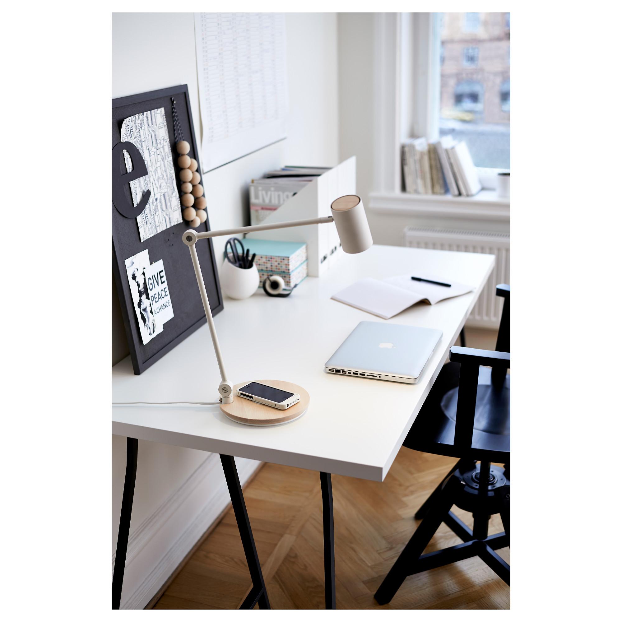 Riggad Led Work Lamp W Wireless Charging White Ikea
