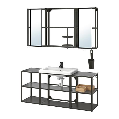 TVÄLLEN/ENHET - 浴室貯物組合 17件裝, anthracite/Saljen tap | IKEA 香港及澳門 - PE811245_S4